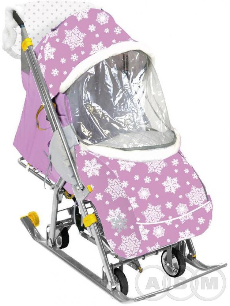 Санки-коляска Ника Наши Детки с перекидной ручкой и выдвижными колесиками